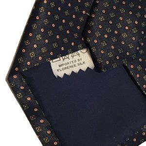 Florence Eiseman Accessories - Florence Mens Neck Tie Navy Orange Polka Dot Italy